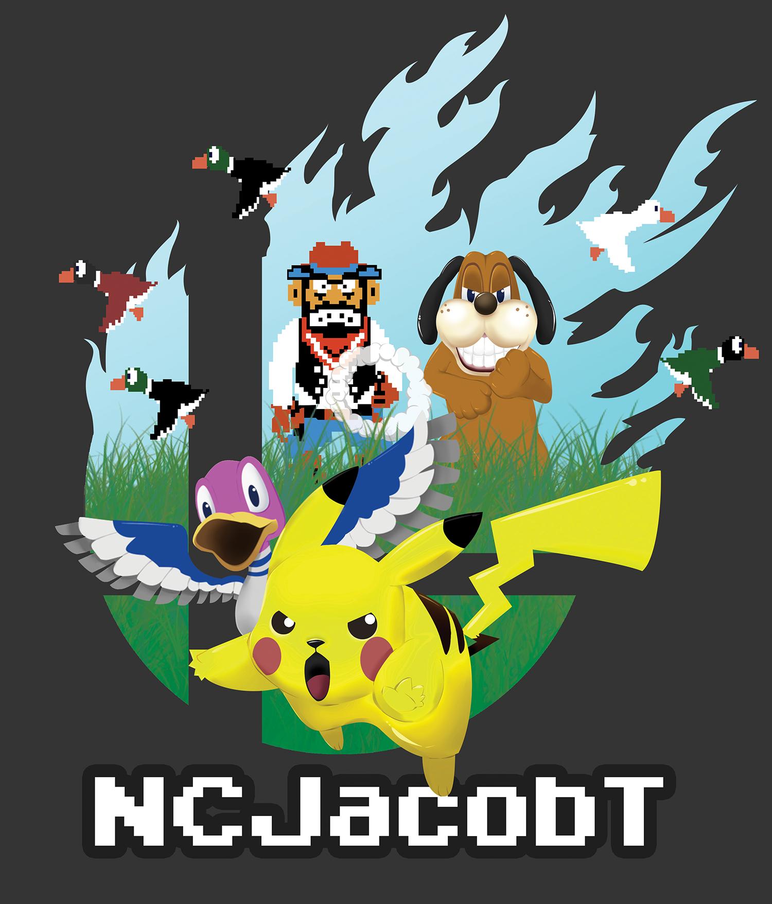 Pikachu & Duck Hunt   Custom T-shirt Design
